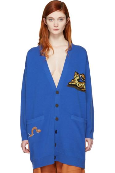 Loewe - Blue Wool Jacquard Tiger Cardigan