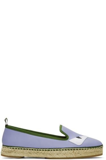 Fendi - Purple Leather 'Bag Bugs' Espadrilles