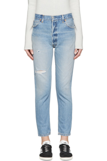 Re/Done - Blue Distressed High Rise Ankle Crop Jeans