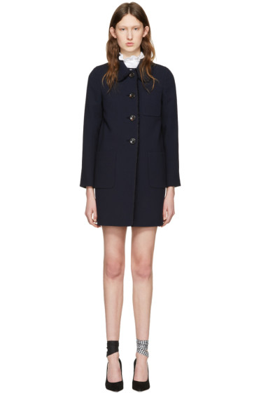 Miu Miu - Navy Wool Ruffle Coat