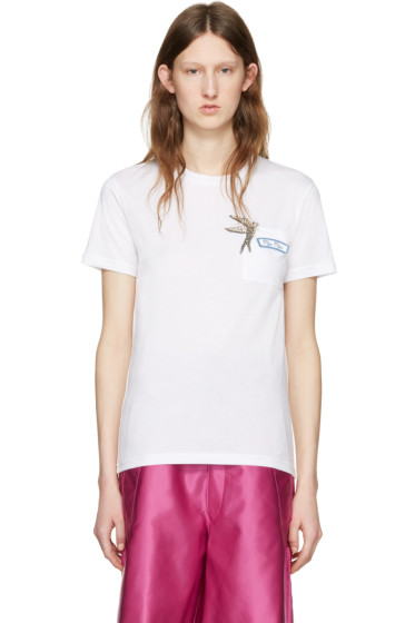Miu Miu - White Bird Logo T-Shirt