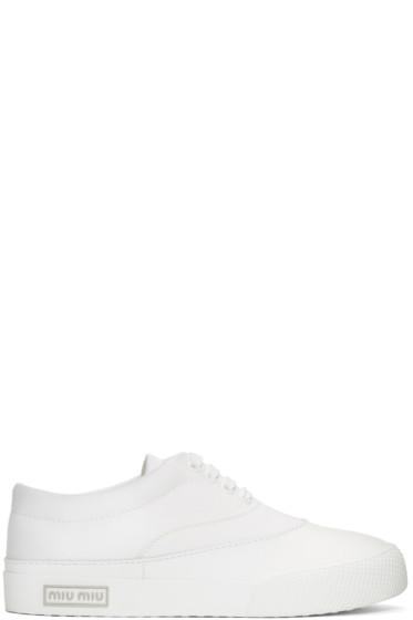 Miu Miu - White Gabardine Sneakers