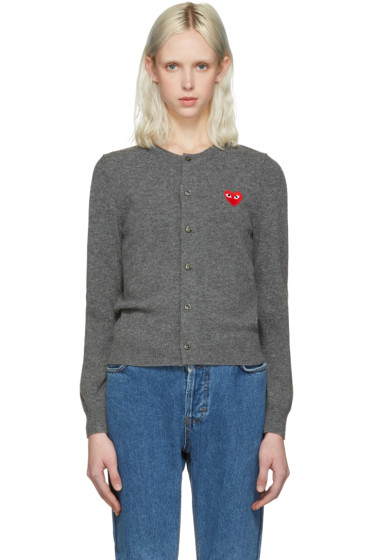 Comme des Garçons Play - Grey Wool Heart Patch Cardigan
