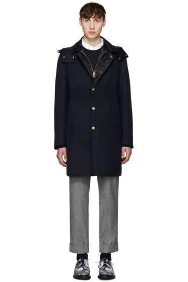 Moncler Gamme Bleu - Blue Wool Layered Coat