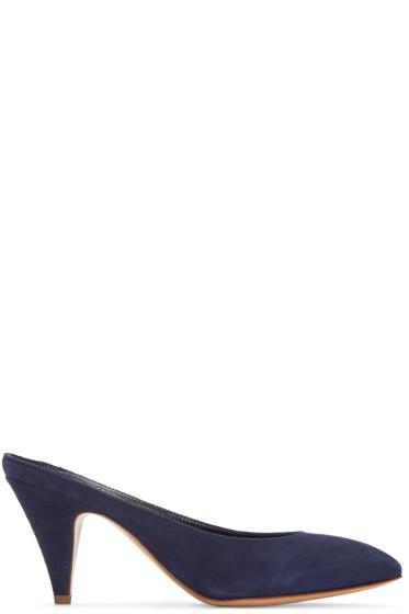 Mansur Gavriel - Navy Suede Classic Slipper Heels
