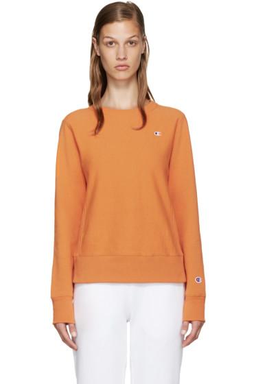 Champion Reverse Weave - Orange Small Logo Pullover