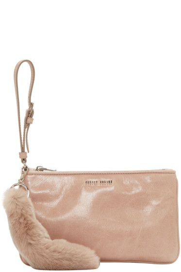 Miu Miu - Pink Leather & Fur Pouch