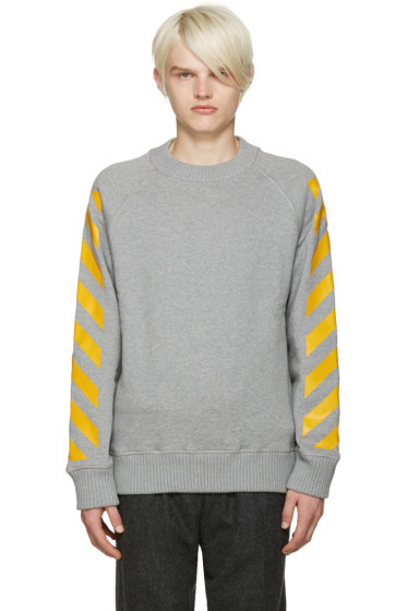 Moncler O - Grey Striped Sleeves Sweatshirt
