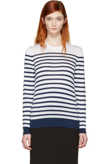 Dolce & Gabbana - White Silk Striped Pullover