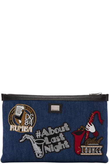 Dolce & Gabbana - Blue Denim Patches Pouch