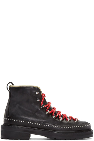 Rag & Bone - Black Leather Compass Lace-Up Boots