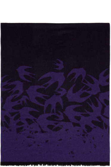 McQ Alexander Mcqueen - Purple Wool Swallows Scarf