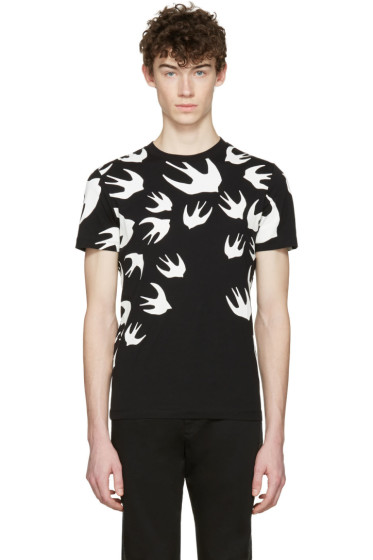McQ Alexander Mcqueen - Black Swallows T-Shirt
