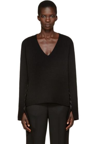 Helmut Lang - Black V-Neck Sweater