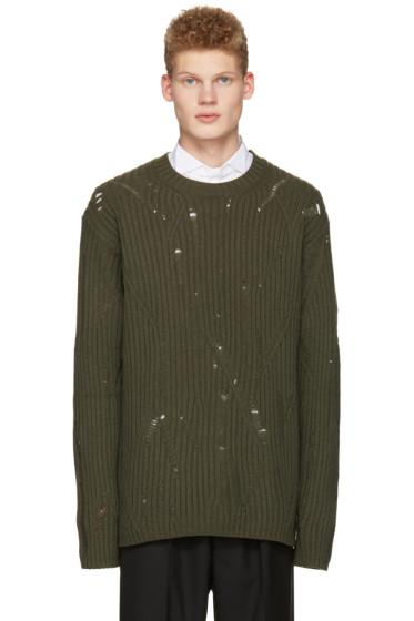 Maison Margiela - Green Oversized Distressed Sweater