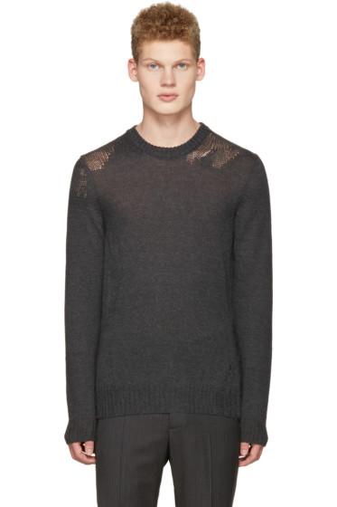 Maison Margiela - Grey Mohair Distressed Sweater