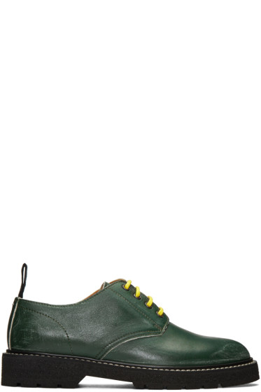 Maison Margiela - Green Leather Distressed Derbys
