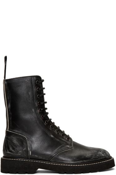 Maison Margiela - Black Leather Distressed Boots