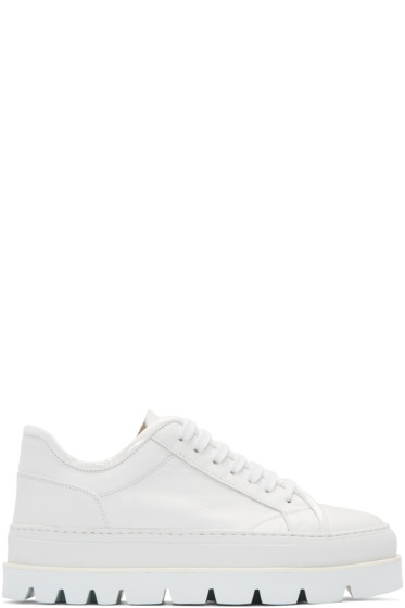 MM6 Maison Margiela - White Leather Flatform Sneakers