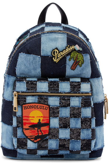 Marc Jacobs - Blue Denim Patchwork Backpack