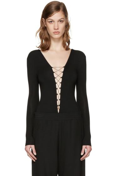 T by Alexander Wang - Black Lace-Up Bodysuit