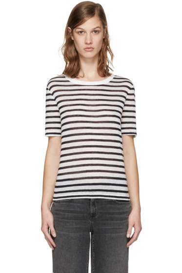 T by Alexander Wang - Navy & White Striped T-Shirt