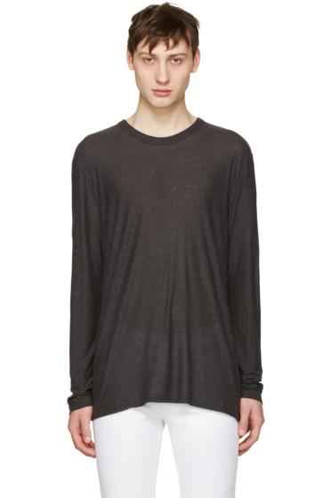 T by Alexander Wang - Grey Long Sleeve T-Shirt