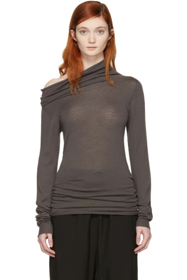 Rick Owens - Grey Dropped Neck Pullover
