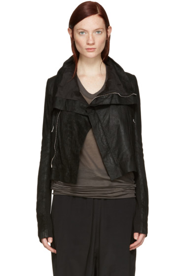 Rick Owens - Black Leather Classic Biker Jacket
