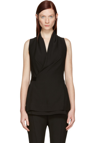 Rick Owens - Black Wrap Vest Blouse