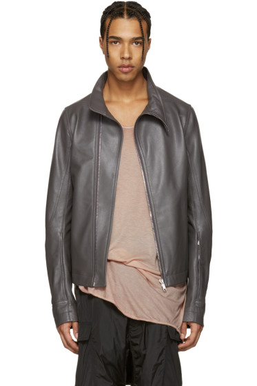 Rick Owens - Grey Leather Molinos Biker Jacket