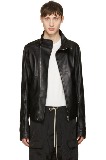 Rick Owens - Black Leather Mollinos Biker Jacket