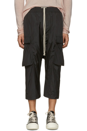 Rick Owens - Black Drawstring Cropped Cargo Pants