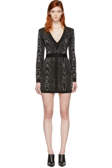 Balmain - Black & White Deep V-Neck Knit Dress