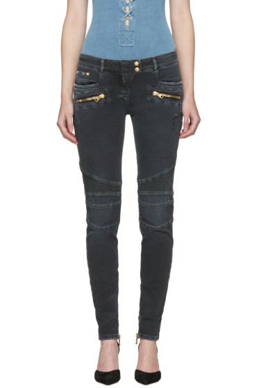 Balmain - Black Distressed Biker Jeans