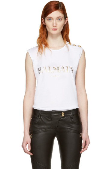 Balmain - White Logo Sleeveless T-Shirt