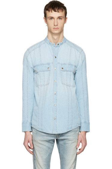 Balmain - Blue Panelled Denim Shirt