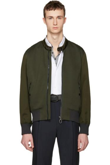 Lanvin - Green Satin Combo Bomber Jacket