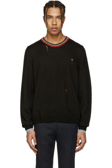 Lanvin - Black Wool Distressed Sweater