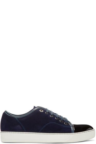 Lanvin - Navy Suede Tennis Sneakers