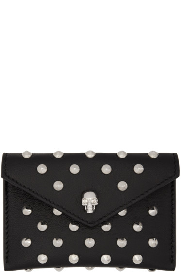 Alexander McQueen - Black Skull Studded Envelope Card Holder