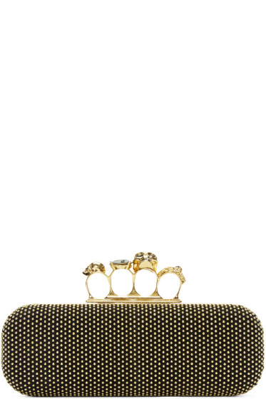 Alexander McQueen - Black Studded Knuckle Box Clutch