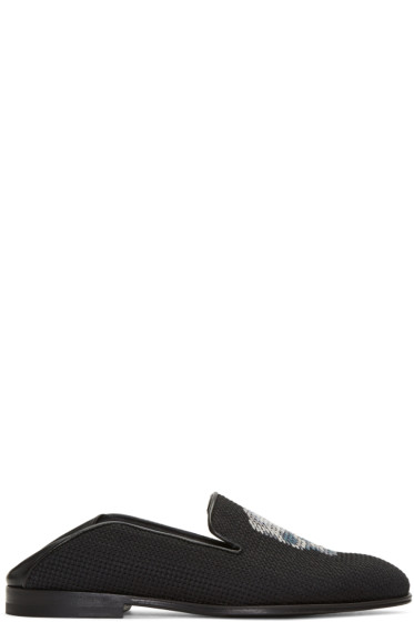 Alexander McQueen - Black Skull Fold Over Loafers