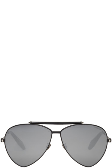 Alexander McQueen - Black Teardrop Aviator Sunglasses