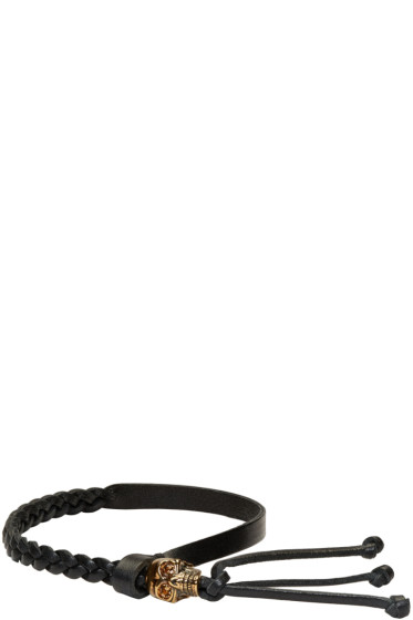Alexander McQueen - Black Braided Skull Bracelet