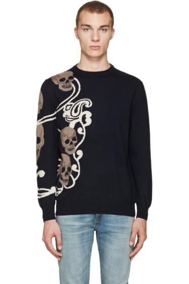 Alexander McQueen - Navy Jacquard Skull Pullover