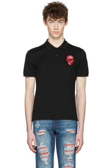 Alexander McQueen - Black Embroidered Skull Polo