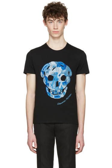 Alexander McQueen - Black Embroidered Skull T-Shirt
