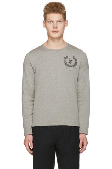 Alexander McQueen - Grey Skull Long Sleeve T-Shirt
