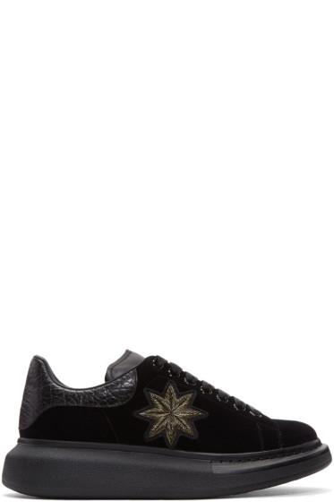 Alexander McQueen - Black Velvet Oversized Sneakers